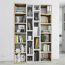 Wohnzimmer Bücherregal in Hochglanz Weiß Eiche