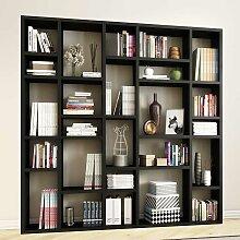 Wohnzimmer Bücherwand in Eiche Schwarz Braun Made