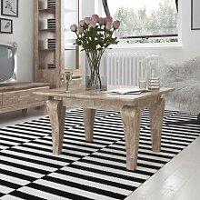 Wohnzimmer Couchtisch aus Eiche Massivholz weiß