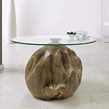 Wohnzimmer Couchtisch aus Teak Wurzelholz runde Glasplatte