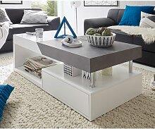Wohnzimmer Couchtisch in Weiß Grau Beton Optik
