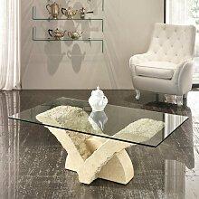 Wohnzimmer Couchtisch mit Glasplatte V Steinfuß
