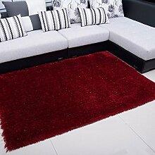 Wohnzimmer Couchtisch Teppich Schlafzimmer Nacht Teppich-Shop für europäische und amerikanische Art-120 × 170cm ( Farbe : Burgundy )