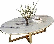 Wohnzimmer Couchtisch Weiß Marmor-Platte Oval l