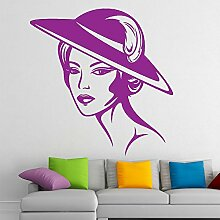 Wohnzimmer Dame Mit Hut Easy Peel & Stick Wandtattoo Vinyl-Aufkleber-Farbe Wählen