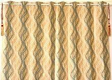 Wohnzimmer Dekoration-Indische **Grün & Golden** Vorhänge mit Spinne Drück, Top-Qualität Gardinen mit Ösen. 245x125 (Höhe x Breite in cm) (Angebot gültig nur für ein Woche)