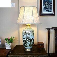 Wohnzimmer Dekoration Lampe/Neue Chinesische,Klassischen,Landschaft Keramik Tischleuchte/Schlafzimmer Bett Lampe-B