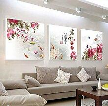Wohnzimmer dekoration malerei dreifach