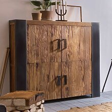 Wohnzimmer Highboard aus Teak Massivholz Metall