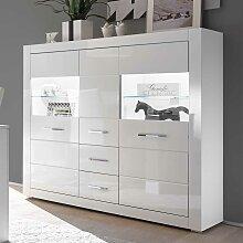 Wohnzimmer Highboard in Hochglanz Weiß und Glas