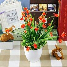 Wohnzimmer Inneneinrichtung Simulation Von Kunststoff Grün Pflanzen Topfpflanzen Blumen Wein Tv-Schrank Schmuck Schmuck Set, Orange