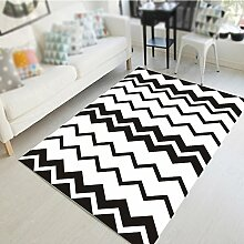 Wohnzimmer Kaffeetisch geometrische Teppich / Schlafzimmer Nachttisch Teppich / Studie Halle Matte / Kinder krabbeln Matte / schwarz-weiß Mode einfache Teppich Matte ( größe : 140*200cm )