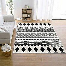 Wohnzimmer klassisch schwarz und weiß Teppich, Wohnzimmer Küche warme Matten, rutschfeste atmungsaktive Teppich ( Größe : 130*190cm )