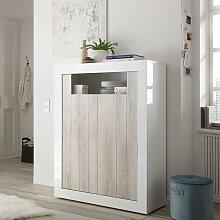 Wohnzimmer Kommode in Weiß Hochglanz und Pinie