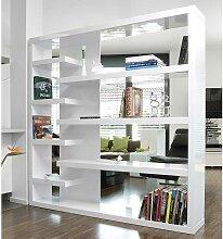 Wohnzimmer Regal 200 cm breit Hochglanz Weiß