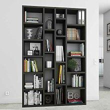 Wohnzimmer Regal in Eiche Schwarz Braun Bücher