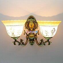 Wohnzimmer Restaurant Schlafzimmer Wandleuchte Europäische antike minimalistische Spiegel vorne Lampe Nachttisch Wand Lampe Treppe Balkon Bad Wandleuchte, grün Bronze