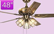Wohnzimmer Restaurant Ventilator Kronleuchter mit Bügeleisen Blatt Haushalt Fan Light A+ (Design: Control-48 Zoll ziehen Led)