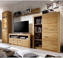 Wohnzimmer Schrankwand aus Asteiche teilmassiv