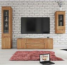 Wohnzimmer Schrankwand aus Buche Massivholz geölt