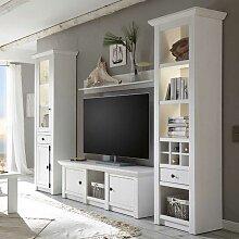 Wohnzimmer Schrankwand im Landhausstil Weiß Pinie