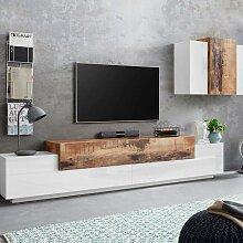 Wohnzimmer-Schrankwand modernes Design Weiß Holz
