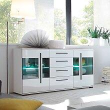 Wohnzimmer Sideboard in Weiß Hochglanz Glastüren