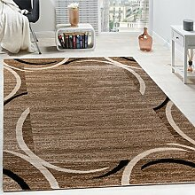 Wohnzimmer Teppich Bordüre Kurzflor Meliert Modern Hochwertig Beige Schwarz Braun, Grösse:160x220 cm