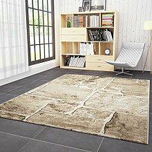 Wohnzimmer Teppich in Beige Braun Stein Mauer Optik Klassisch Sehr Dicht Gewebt Top Qualität – VIMODA; Maße: 200x290 cm