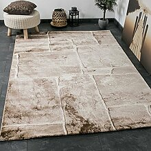Wohnzimmer Teppich in Beige Braun Stein Mauer Optik Klassisch Sehr Dicht Gewebt Top Qualität – VIMODA; Maße: 80x150