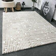 Wohnzimmer Teppich In Beige Creme Mit Kachel Muster Fliesen Optik Getuftet - VIMODA, Maße:160x230 cm