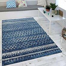 Wohnzimmer Teppich Indigo Blau Trend Modernes Skandinavisches Muster , Grösse:200x290 cm