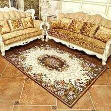 Wohnzimmer Teppich Schlafzimmer Teppich Bettvorleger European Style 70 × 120cm ( Farbe : Braun )