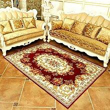 Wohnzimmer Teppich Schlafzimmer Teppich Bettvorleger European Style 140 × 200cm ( Farbe : Rot )