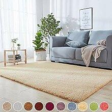 Wohnzimmer Teppich Shaggy Beige 200 x 280 cm