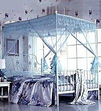 Wohnzimmer Vorhänge Vorhänge im Schlafzimmer Prinzessin Moskitonetz Square Top Drei Öffnen Die Tür Dick Rostfreier Stahl Insektennetz Moskitonetzen Continental Vorhang Baumwollvorhänge ( Farbe : Blau , größe : 2*2.2m )