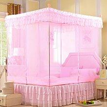 Wohnzimmer Vorhänge Vorhänge im Schlafzimmer Prinzessin Moskitonetz Square Top Drei Öffnen Die Tür Dick Rostfreier Stahl Insektennetz Moskitonetzen Continental Vorhang Baumwollvorhänge ( Farbe : Pink , größe : 1.8*2.2m )