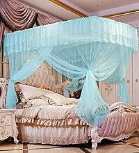 Wohnzimmer Vorhänge Vorhänge im Schlafzimmer U-Typ Prinzessin Teleskopisch Moskitonetz Square Top Drei Türen Dicker Edelstahl Insektennetz Moskitonetzen Continental Vorhang Baumwollvorhänge ( Farbe : Blau , größe : 1.5*2m )