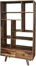 Wohnzimmerregal aus Sheesham Massivholz 175 cm hoch