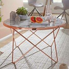 Wohnzimmertisch in Kupferfarben runder Tischplatte