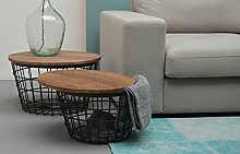 Wohnzimmertisch Set Holzdeckel mit Metallgeflecht Korbtisch Beistelltische passend skandinavisch (2 Stück) (Schwarz)