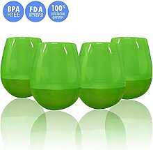 wolecok unzerbrechlich Silikon Weinglas Lebensmittelqualität Hochwertige Wein-Cup geeignet für Home und außerhalb, Silikon, grün, 4 Pack-L