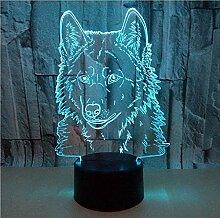 Wolf 3D Lampe 16 Farbänderungen Touch Remote 3D