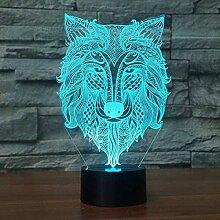 Wolf 3D Nachtlicht LED Schlafzimmer Dekoration