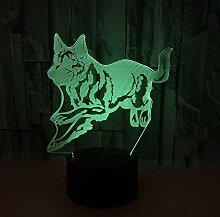 Wolf 3D Nachtlicht Touch Remote 3D Vision Lampe