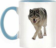 Wolf Bild Design zweifarbige Becher mit Licht Blau Griff & Innen