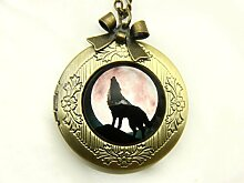 Wolf-Foto-Halskette, Medaillon, Mond-Anhänger,