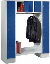 Wolf Garderobenschrank, offen - Gesamt-HxB 1850 x 1500 mm, 13 Fächer - enzianblau RAL 5010 - Garderobe Garderobenschrank Mehrzweckschrank Spind Fächerschrank Garderobensystem Schließfachschrank