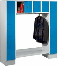 Wolf Garderobenschrank, offen - Gesamt-HxB 1850 x 1800 mm, 14 Fächer - lichtblau - Garderobe Garderobenschrank Mehrzweckschrank Spind Fächerschrank Garderobensystem Schließfachschrank