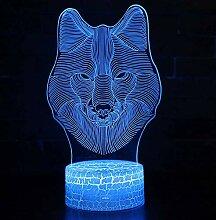 Wolf Head 3d Nachtlicht Led Fernbedienung sieben
